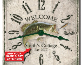 Bass Fishing Cottage Personalized Wall Clock