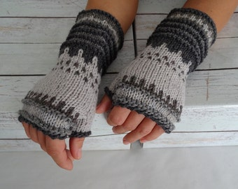 knit fingerless, fingerless gloves, arm warmers, fingerless mittens, wrist warmers, hand warmers, knit gloves, knit fire isle, ready to ship