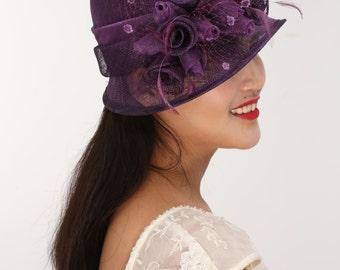 Fancy Small  Brim Kentucky Derby Floppy Slant Top Bucket with  Organza Rose Flowers  Millinery Church  Hat Purple