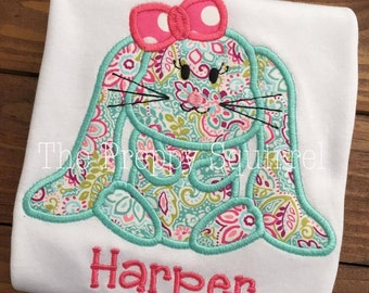 Easter Bunny Applique Shirt - Kids Shirt - Embroidery - Chick Applique
