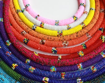 The Kamba Necklaces - Brass Closure || Beaded Hand-Made African Maasai Beads Necklaces