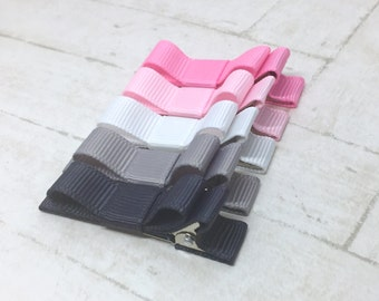 Baby toddler hair clip, pink and grey, ribbon lined hair clips with tuxedo bow, non-slip hair clips, alligator clip bow, no slip, baby hair