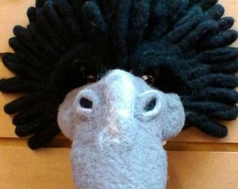 Needle felted Crow mask, Shakespeare-esk