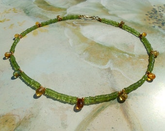 Luminous Peridot Rondelle Czech glass drops pearl necklace