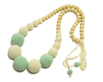Mint and white necklace / Long nacklace / Crocheted necklace / Nursing necklace / Cotton necklace / Babywearing necklace