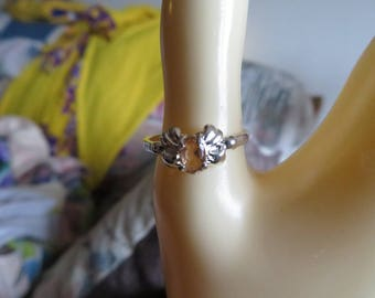 Handcrafted NEW Sterling Silver 925 Genuine .50 Carat Peach Topaz Ring Size 8, Weght 2 Grams