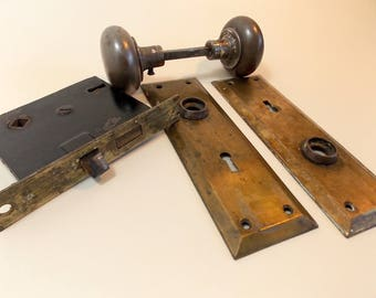 Antique Metal Door Handle Set - Door Knob Set - Antique Hardware - Door Hardware