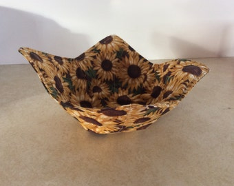 Microwave Bowl Cozy, Microwave Pad,Cold Food Cozy, Table Protector, Reversible, Gifts under 10 dollars, all cotton, Sunflowers