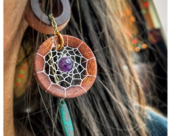 Organic Magnetic Tunnels w/ Handwoven Dream-Catcher Dangles- Sizes 2g(6mm)-38mm/ Wedding/ Hippie/Wooden Plug Gauges/ Bohemian/ Purple Stone