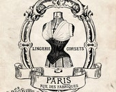 Water Slide French Decal Print Transfer to furniture, wood, paper Typography: Vintage Labels of French Corset (Audrey) #035