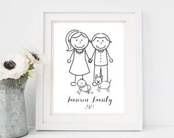 Personalised Family Print, Family Portrait, Personalised Family Picture, personalised family print, stick figure portrait
