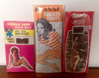 Three Pairs of Vintage Tights. 1970's.