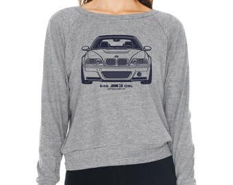 BMW E46 M3 CSL Graphic printed on Women's American Apparel long sleeve pullover
