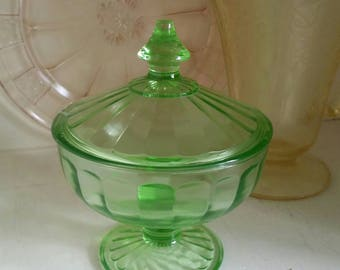 Vaseline green console bowl depression glass candy dish footed covered compote c. 1940s