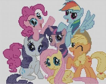 Counted Cross Stitch Pattern, MLP, My Little Pony, Friendship is Magic, Hand Designed by Dueamici, Pattern or Complete Kit