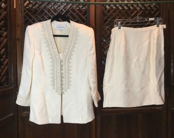 Oscar De La Renta white 1960's suit