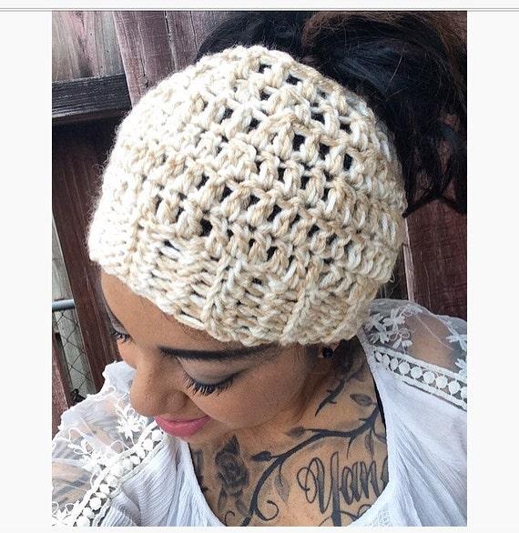 Messy Bun Hat in Buff Ivory