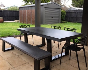 Polished Concrete Dining Table And Bench Seat, Patio Alfresco Table With  Powder Coated Black Base