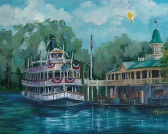 Liberty Belle, landscape painting, steamboat, original art