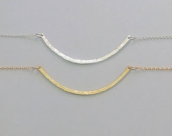 Curved Bar Necklace, Minimalist Necklace, Skinny Bar Necklace, Minimalist Jewelry, Curve Bar, Bar Necklace, Layering Necklace