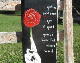 the damned lyrics painting on salvaged wood, new rose lyrics, red rose painting, hand painting, black, red, the damned band, the damned art