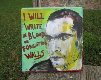 henry rollins mixed media on salvaged wood . rollins band . black flag . henry rollins quote . blood . spoken word . henry rollins portrait