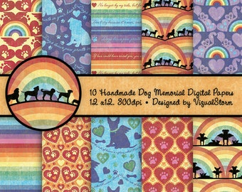 Rainbow Bridge Dog Memorial Digital Papers Printable Backgrounds Dog Paw Prints Silhouettes Hearts Pet Loss Quotes Dog Sympathy Scrapbooking