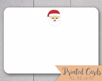 Santa Note Cards - 24pk, Santa Face Note Cards, Personalized Flat Note Cards, Printed without Envelopes (NC-010)