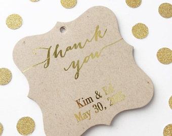 Wedding Favor Tags, Gold Foil Thank You Kraft Custom Wedding Tags, Custom Wedding Hang Tags  (FS-009-FKR)