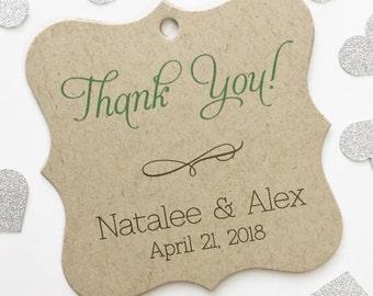 Thank You Wedding Favor Tags, Custom Wedding Tags, Custom Wedding Hang Tags  (FS-012-KR)