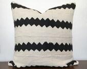 "Mudcloth Pillow 17"" Geometric Monochrome Stripe"