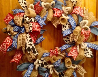 Western wreath, cowboy wreath, country wreath, everyday wreath, deco mesh wreath, front door wreath