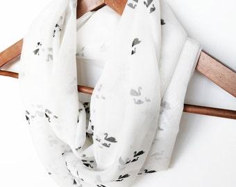 Birds Infinity Scarf, Silk Infinity Scarf, Swan Scarf, Chiffon Scarf, Spring, Printed Scarf, Lightweight Scarf, Gift For Wife, Gift for Mom