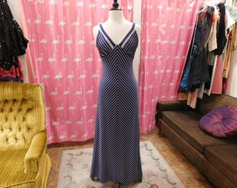 1970's Alfred Shaheen /Nautical/Chevron Striped/ Maxi knit/ Sun dress/ XS-S