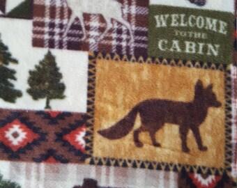 Bear Lake Cabin Patch Anti Pill Fleece Fabric (1.75 yards)