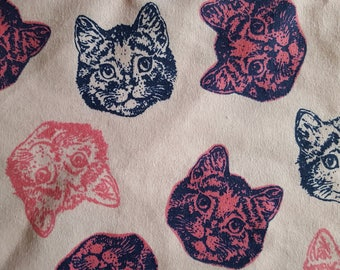 Multi-Pink Cat Faces Flannel Fabric Sold by the Yard