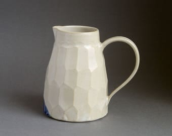Large facetted jug or pitcher, Matt White glaze with blue, ideal present for her or him, contemporary unusual gift, for drinks or flowers