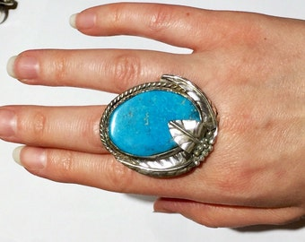 Antique Vintage Navajo Big Bright Blue Turquoise Sterling Silver Ring