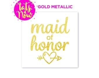 Maid of Honor Tattoo for Bachelorette Parties / Maid of Honour Batchelorette Party Decor / Gift for bridesmaids' Wedding Bridal mementos