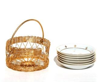 Porcelain Coaster set of 6 , Andrea by Sadek Porcelain Coasters , 24K Gold Trim  wire Caddy , Fleu de Lis Coaster and Caddy Set  Tea Coaster