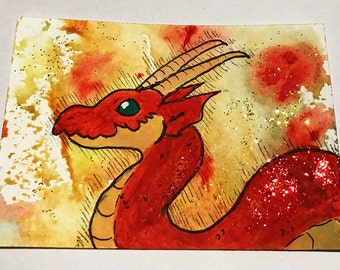 Red Dragon Watercolour Card - Chinese New Year
