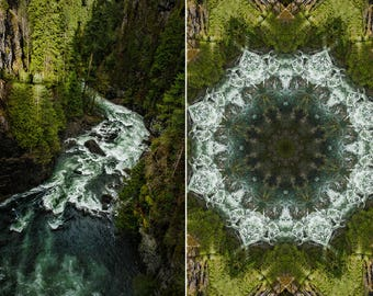 Two piece wall hanging, Diptych Mandala wrapped canvas wall art, geometric, green and blue Nature photography