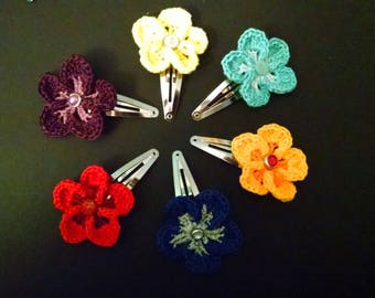 Flower hair snap clip