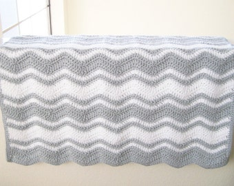 Gray and White Baby Blanket, Crocheted Baby Afghan, Baby Boy Afghan, Baby Girl Blanket