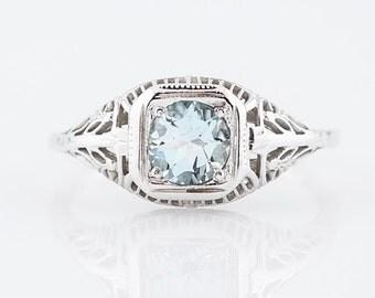 Antique Engagement Ring Art Deco .44 Round Cut Aquamarine in 18k White Gold
