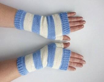 Stripe gloves, stripe wrist warmers, fingerless gloves, armwarmers, long wool gloves, fashion knit gloves, winter warm gloves, wristwarmers