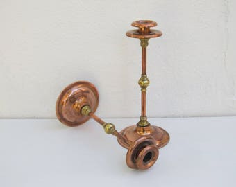 Copper candle sticks, mid-century brass and copper candlesticks, arts and crafts vintage candleholders, rustic mantlepiece farmhouse decor