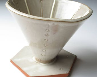Pourover coffee dripper- cream with tiny stars. Made to order ceramic coffee cone. Handmade earthenware pottery for coffee brewing V60