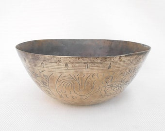 Brass Chinese Dragon Bowl - Vintage Asian Brass Dish - Vintage Patination - Brass Collectible Bowl - Asian Art - Chinese Brass Bowl