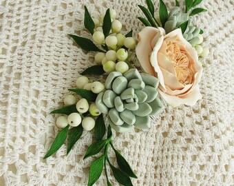 Succulent rose floral bridal hair comb, woodland hair crown, wedding headpieces, boho chic comb, floral circlet, beige flower comb